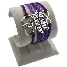 DIY male friendship Silver Love Infinity Justin Bieber Butterfly Charms Purple Leather Wax Cord woven rope bracelet men jewelry