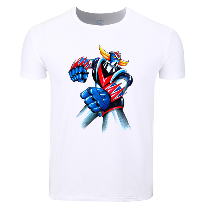 Asian Size Men Print Robot Grendizer Japanese Anime Classic T-shirt O-Neck Short Sleeve Summer Casual Fashion T-shirt HCP4339
