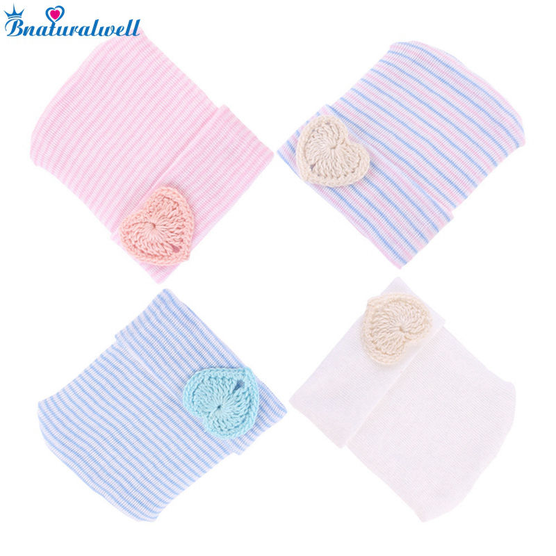 Bnaturalwell  Newborn Baby Hospital Hat with heart Lovely Beanies Soft Cotton Knit Spring Baby Cap Shower Gift H070D soft baby child bath shampoo shower cap hat pink