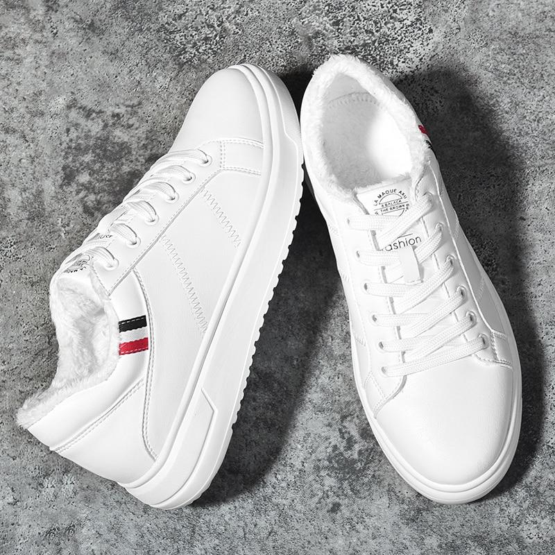 Surom Mode Winter Warme Plüsch Leder Casual Schuhe Männer Höhe Zunehmende Herren Weiße Schuhe Klassische Schwarz Männlichen Turnschuhe Erwachsene