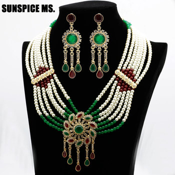 Moroccan Flower Bead Pearl Jewelry Sets Moroccan Long Drop Earring Necklace Big Pendant For Women Ethnic Wedding Bridal Gift 2