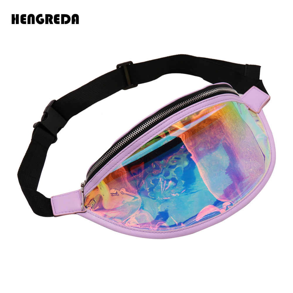 4469148006 Holographic Bum Bag Laser Fanny Pack 2018 Fashion Transparent Shiny Waist  Bags Women Raves Hip Bag Hengreda Hologram PVC Travel