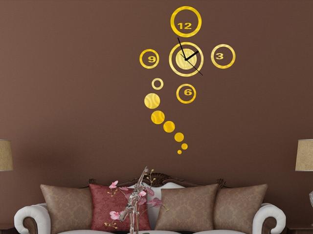 gratis verzending spiegel effect wandklok sticker modern ontwerp 3d interieur woonkamer muur horloges