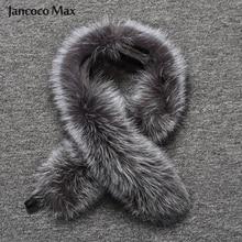 Модный стильный женский меховой воротник из натурального меха серебристой лисы, зимний теплый шарф из натурального меха, шаль высшего качества S7396