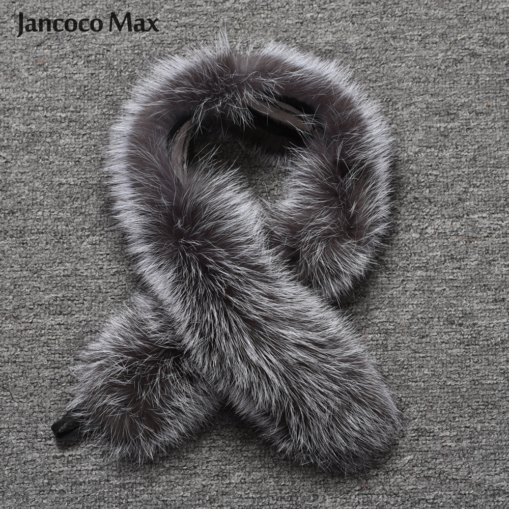 Fashion Style Women Real Silver Fox Fur Collar Winter Warm Natural Fur Scarf Top Quality Shawl S7396-in Women's Scarves from Apparel Accessories