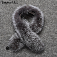 Fashion Style Women Real Silver Fox Fur Collar Winter Warm Natural Fur Scarf Top Quality Shawl S7396