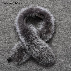 Image 1 - Vrouwen Real Silver Fox Bont Sjaal Winter Mode Bontkraag Op Kap Luxe Sjaals Vossenbont S7396