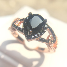 agate Black Zircon Bicolor Rose Gold Ring Female Creative Water Drop Style