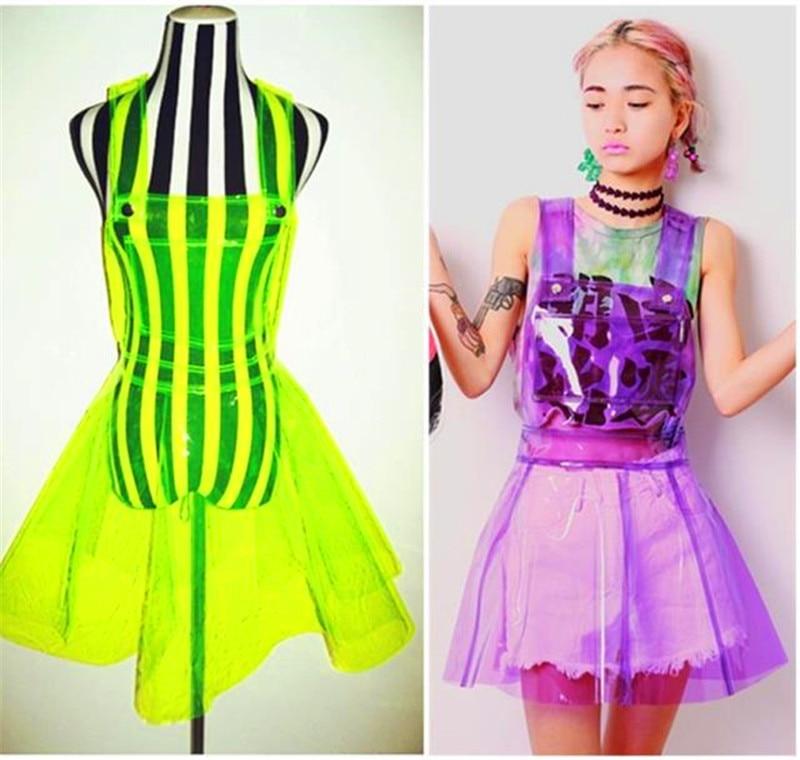 Femme chanteuse Ds Costume Transparent plastique Expansion fond PVC robe Vestido robe d'été femmes clair PVC vinyle plastique tissu
