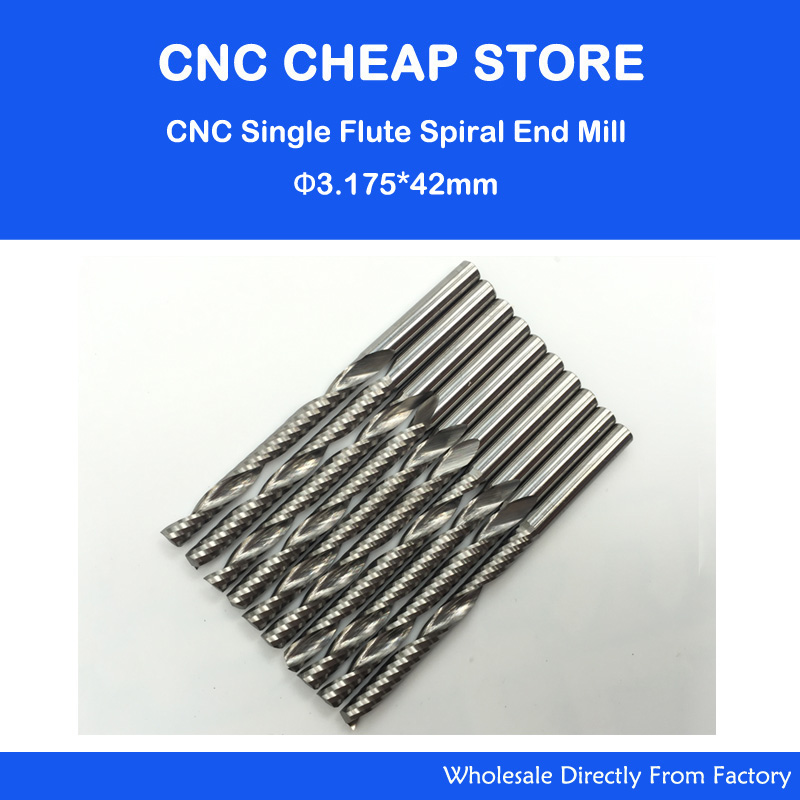 10pcs 3.175*42mm One single Flutes Carbide Mill Spiral Cutter Wood CNC Router Bits Cutting Tools CNC Machine Engraving Cutter 4 22 3 flutes carbide mill spiral cutter wood cnc router bits cutting tools for cnc machine