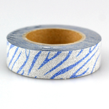 1PCS 15mm*10m Blue Zebra Pattern Glitter Tape Decorative Washi Tape Paper Scrapbooking Adhesive Tapes for Photo Album Stationery image