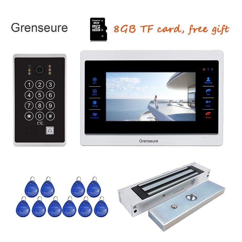 Livraison Gratuite 720 P AHD 7 vidéo Porte Téléphone Interphone Déverrouiller Dossier Détection de Mouvement de L'écran Code Clavier RFID Caméra Serrure Magnétique