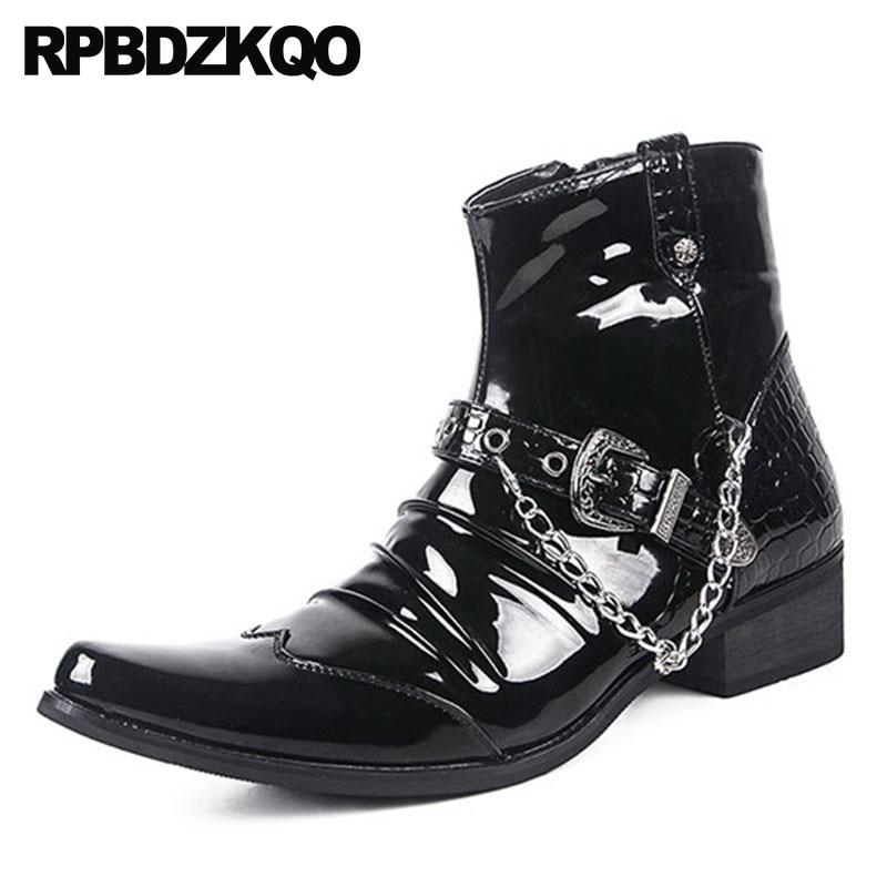 Punteado Cómodo Botines Hombre Piel Dedo Rock Para Metalico Zapatos Cima Negro Impermeable Alta Corto Botas Fornido Mas De Cuero Punk Moda Cremallera Tobillo Serpiente Calzado Masculino wqxzUq1X
