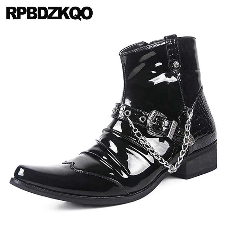 05d3d486b09 Zipper Fashion Waterproof Ankle Punk Metalic Booties Black Shoes Pointed  Toe Rock Chunky Snakeskin Mens Patent