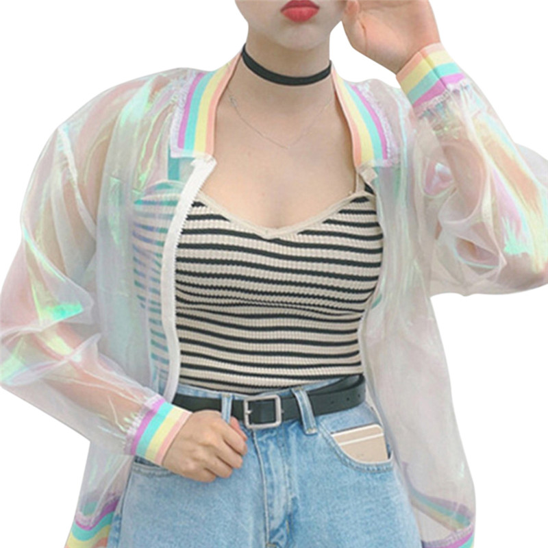 Women Jacket Laser Rainbow Symphony Hologram Harajuku Summer Sunproof Women Coat Iridescent Transparent Bomber Jacket