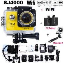 Mejores ventas 2 xbattery + monopie héroe 3 4 estilo SJ4000 WIFI 1080 P HD DVR cámara de vídeo Cámara de La Acción Del Casco Del Deporte DV HD Impermeable
