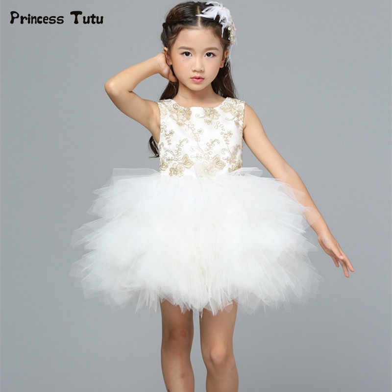 63368071f767 Custom Flower Girl Dresses Embroidery Princess Girl Party Pageant Formal  Dress White Kids Girls Ball Gown