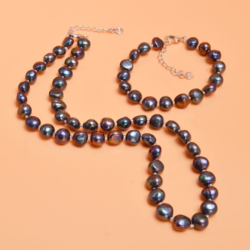 ASHIQI-Gary-Baroque-Natural-pearl-Jewelry-Sets-Real-Black-Freshwater-pearl-Necklace-Bracelet-for-women-New (3)