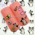 Mix 5 Design 3D Giltter Butterfly Love Heart Cute Cat Kiss Lip Adhesive Nail Art Stickers Decorations Tips