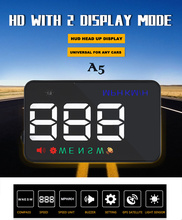 Universal High Quality Mini Car HUD Best Selling Adjustable LED Brightness Head Up Display Remote Control Time Display Free Ship