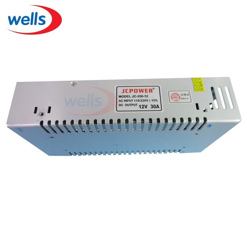 ترانسفورماتورهای روشنایی تنظیم شده در 110 ولت AC 110V 220V به DC 12V 30A 360W تنظیم شده درایور منبع تغذیه تنظیم شده برای 5050 3528 RGB led Strip Light