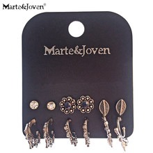 Marte&Joven 6 Pair/set Antique Silver C Shape Punk Style Earrings Set for Women Mix Flower/Leaf Ear Studs Jewelry Accessories(China)