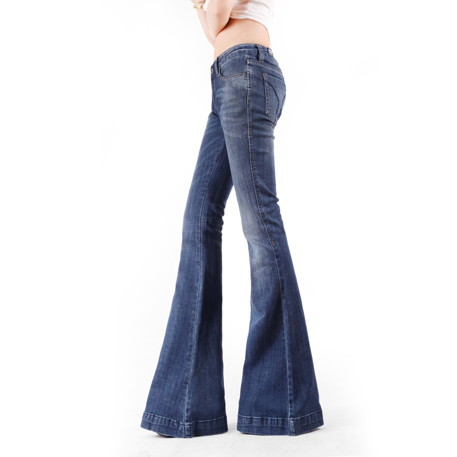 Vintage Vêtements Rayé Italie Déchiré Slim Femmes Mode Nouvelle Pantalon 2017 De Arrivée Jeans Printemps Large Flare Allongé Jambe qwSYY86