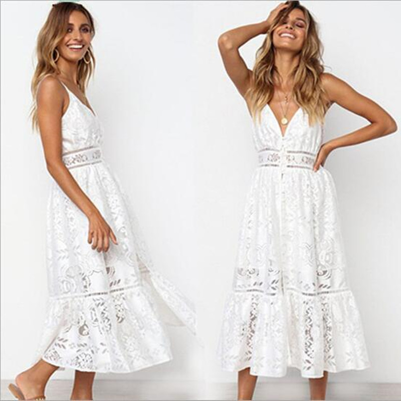 2fabbb2f171 Boho Women White Guipure Lace Dresses Backless Summer Midi Dress 2018  Hollow Out Long Gypsy Spaghetti Strap Vestidos QC718-in Dresses from Women s  Clothing ...