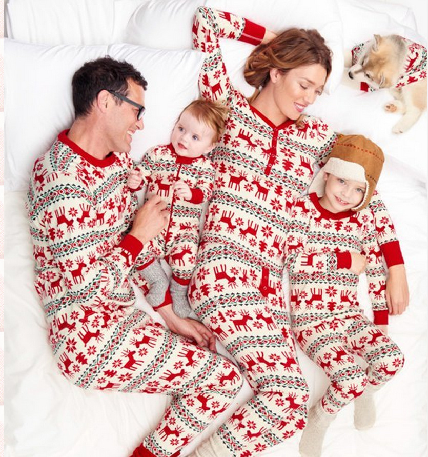 Family Christmas Dear Pajamas Matching Clothes Mother Daughter Father Son Baby New Year Look Sets 100 Cotton Outfits 2pcs Set In