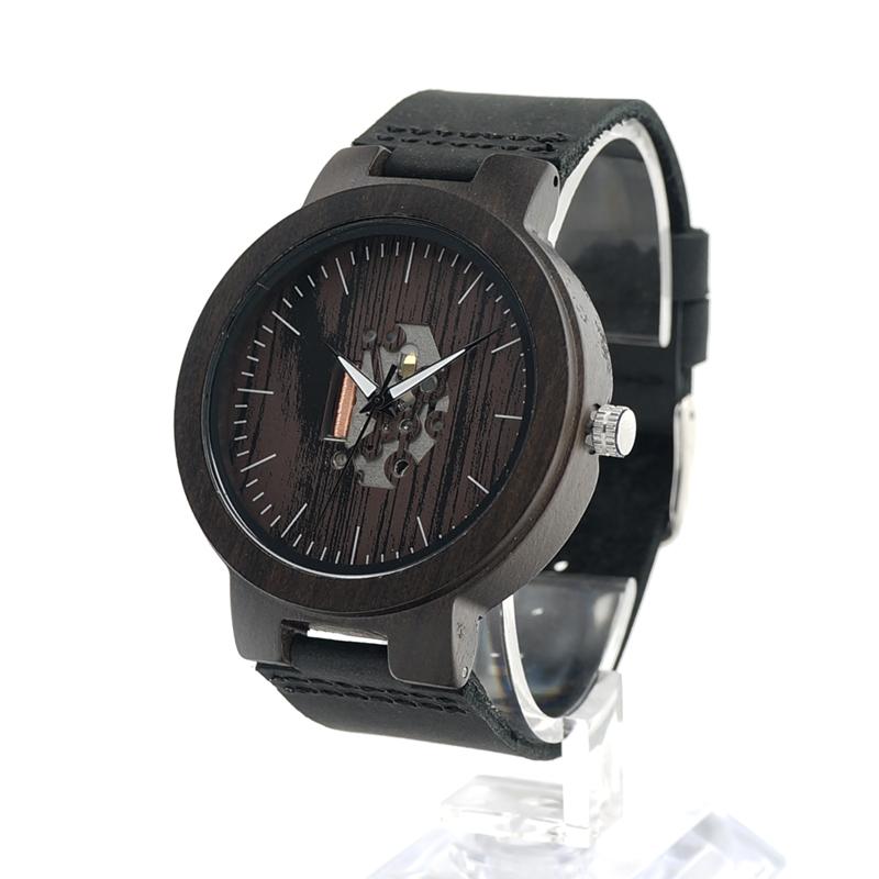 Prix pour Bobo bird h29 hommes en bois montre doodle peinture cadran exposés mouvement quartz montre-bracelet avec bracelet en cuir reloj de los hombres