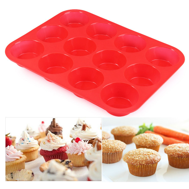 NEW 12 Cup Silicone Muffin pan & Cupcake Baking Dish No - Stick baking pan silicone cake mold-12-Cup round Mini Muffin Pan form