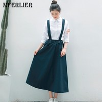 Mferlier Mori Girl Literature A Line Skirt Solid Elastic Waist Pocket Adjustable Long Strap Casual Pleated
