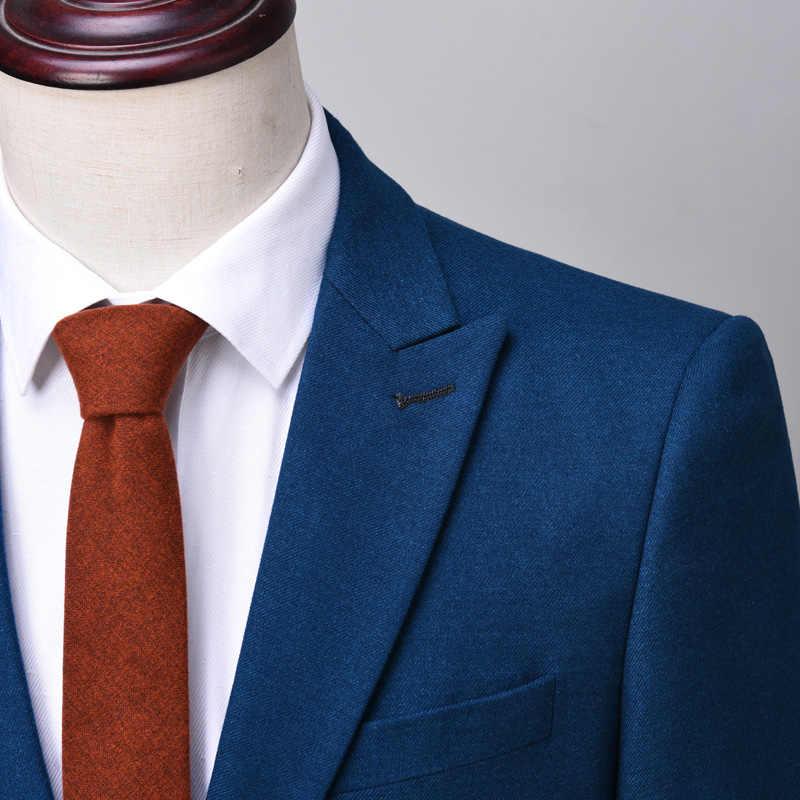 OSCN7 Tepe Yaka Terzi Yapılmış Takım Elbise Erkekler 3 Parça Beyefendi Iş Düğün Custom Made Erkek Takım Elbise Blazer Özelleştirmek 9787- 13