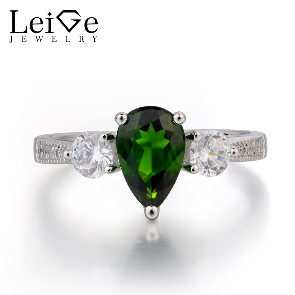 Leige Jewelry Pear Cut Green Gemstone Natural Chrome Diopside Ring Engagement Ring 925 Sterling Silver Ring Three Stones RingLeige Jewelry Pear Cut Green Gemstone Natural Chrome Diopside Ring Engagement Ring 925 Sterling Silver Ring Three Stones Ring