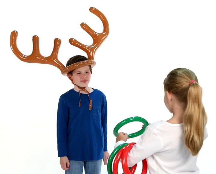 Inflatable Deer Head Ring Throwing Ring Toy Children Outdoor Leisure Sports Christmas Toy Gift