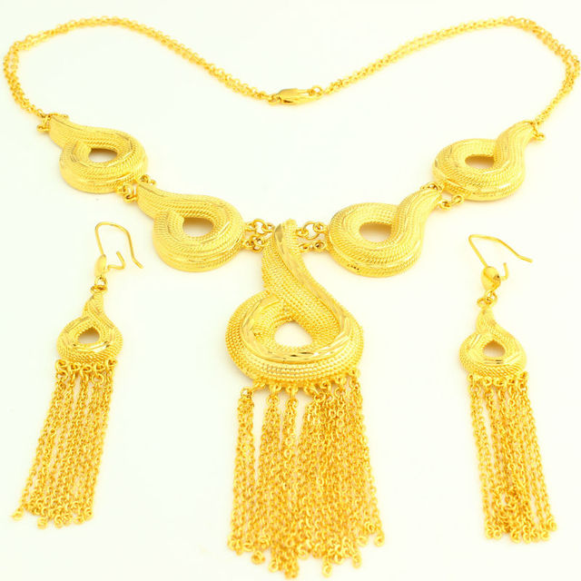 African Ethiopian Jewelry Set 24k Gold Color Necklace Earring Nigeria