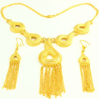 African Ethiopian Jewelry Set 24K Gold Plated Necklace Earring Jewelry African Nigeria Arabic Bridal Wedding Jewelry