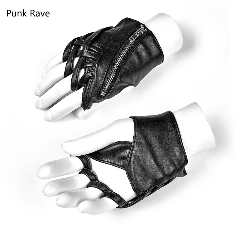 Fingerless Faux Leather Motorcycle Gloves Black