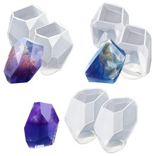 Large Multi-Faceted Gem Stone Resin Epoxy Mold For Jewelry, Soap Making, Cabochon Gemstone Crafting Projects 6-Pack(China)
