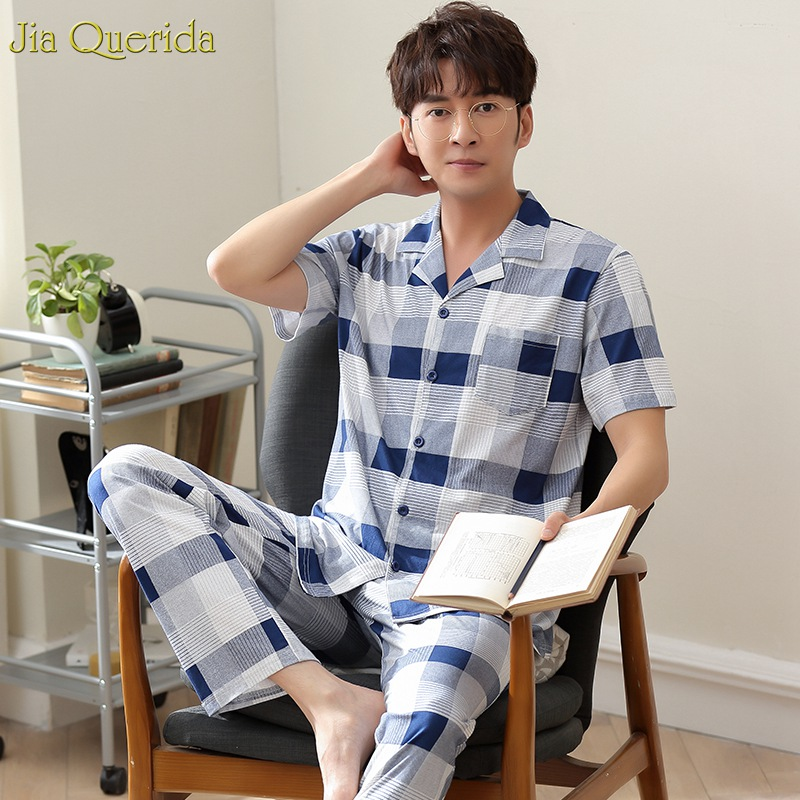 Classy Mens Leisure Home Suits 100% Cotton Lapel Button Cardigan Sleepwear Men Set Short Sleeves Luxury Clothes Men Pyjama Set