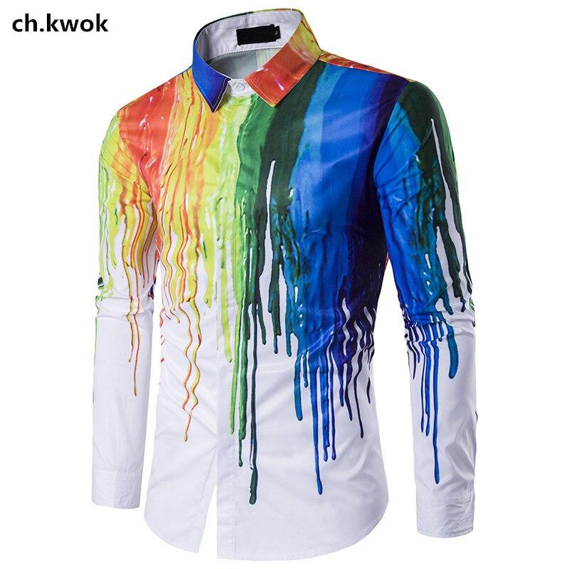 UnabhäNgig Ch Verarbeitung Kwok 3d Splash Ink Herren Hip Hop Casual Shirts Lange ärmel Gedruckt Mens Dress Shirts Regenbogen Outwear Herbst Kleidung 3xl Exquisite In
