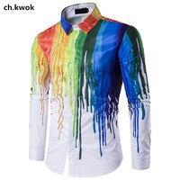 CH.KWOK 3D Splash Ink Mens Hip Hop Casual Shirts Long Sleeves Printed Mens Dress Shirts Rainbow Male Outwear Autumn Clothing 3XL