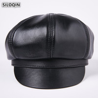 SILOQIN Winter Men's Genuine Leather Cap Sheepskin Leather Warm Berets For Men Middle aged Brand Caps Elegant Classic Dad Hats
