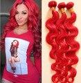 Необработанные бразильский девственные волосы 3 шт. много волна полные пучки красный цвет, 100% человеческих волос DHL бесплатная горячая распродажа
