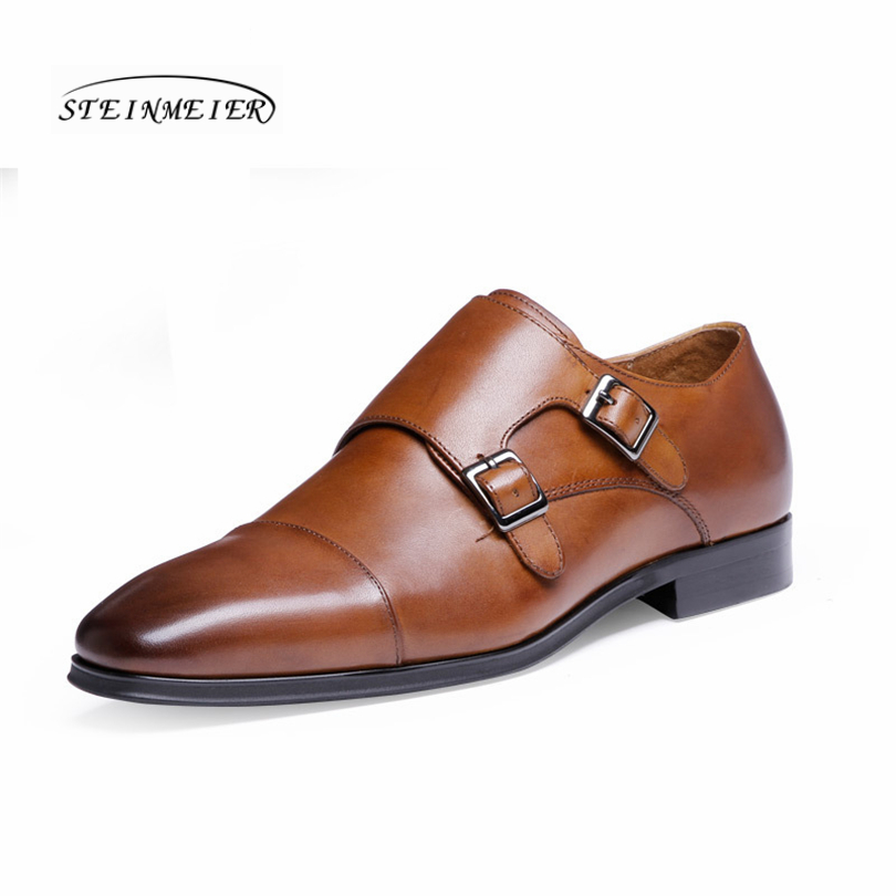 Mens formal shoes leather oxford shoes for men dressing wedding men s brogues office shoes buckle