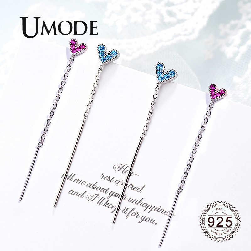 Umode 100% Echt 925 Sterling Zilveren Oorbellen Voor Vrouwen Fashion Tiny Hart Long Chain Dangle Earring Zilveren Sieraden ULE0619