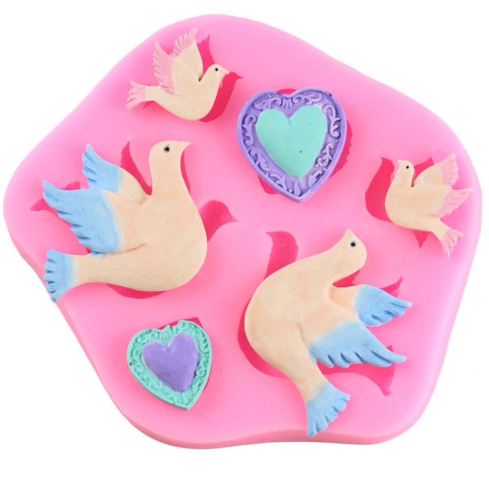 Pigeon Birds Chocolate Silicone Molds Party Fondant Cake Decorating Tools Resin Clay Candy Mold Heart Gem DIY Cupcake Baking