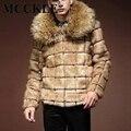 Moda Para Hombre de Piel Sintética Parka Cuello de Piel de Abrigos Y Chaquetas de Invierno Caliente de Espesor de Lujo de Estilo Europeo Noble Chaqueta Q2639