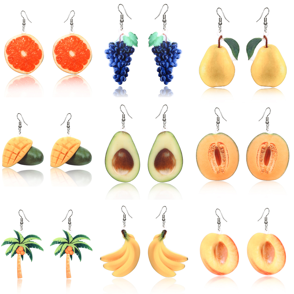 Summer Earrings Dangle Fruit Earrings Peach Grape Coconut tree Orange Earrings Mango Fashion Cantaloupe Avocado fruit