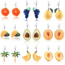 Summer Earrings Dangle Fruit Peach Grape Coconut tree Orange Mango earrings for women Cantaloupe Avocado fruit